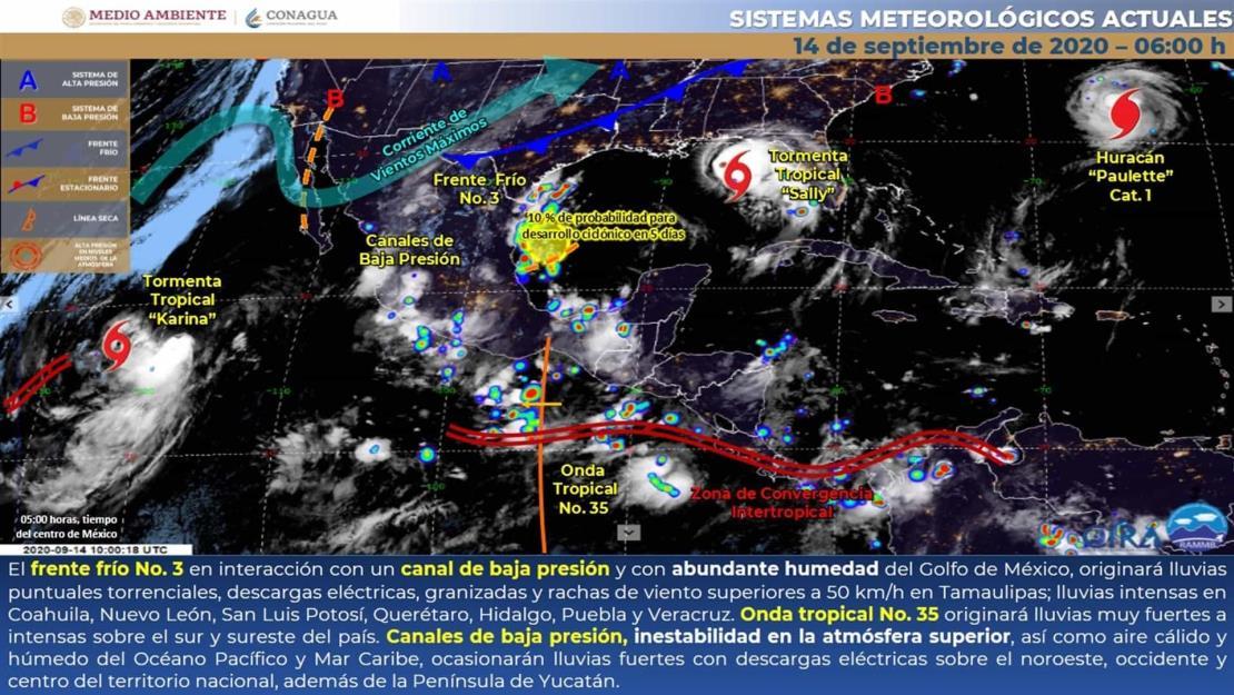 Prevén lluvias fuertes para el sur de Sinaloa