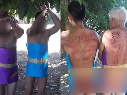 """Exhiben desnudos a dos hombres en Guasave; los señalan de chapulines"""""""